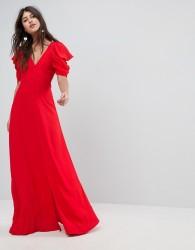 ASOS Short Sleeve Button Through Maxi Dress - Red