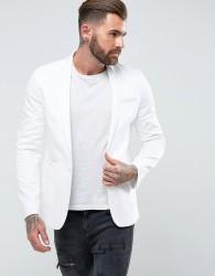 ASOS Skinny Blazer In White Cotton - White