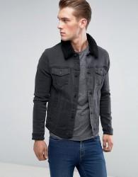 ASOS Skinny Denim Jacket With Borg Collar in Black Wash - Black