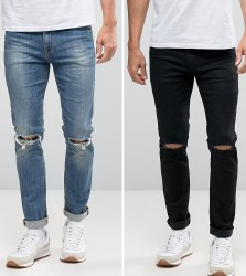 ASOS Skinny Jeans 2 Pack In Black With Knee Rips & Mid Blue With Knee Rips SAVE - Multi