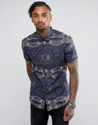 ASOS Skinny Shirt In Tapestry Print - Black
