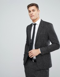 ASOS Skinny Suit Jacket In Black and White Vertical Stitch - Black