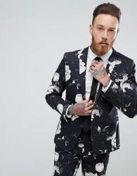 ASOS Skinny Suit Jacket In Black Photographic Print - Black