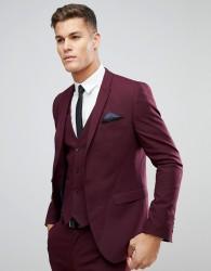 ASOS Skinny Suit Jacket In Burgundy - Red