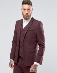 ASOS Skinny Suit Jacket In Burgundy - Red
