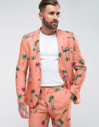 ASOS Skinny Suit Jacket In Coral Tropical Print - Pink