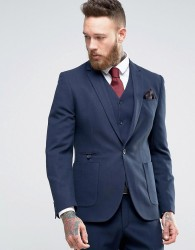 ASOS Skinny Suit Jacket in Micro Texture in Navy - Navy