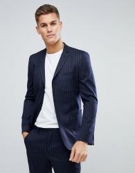 ASOS Skinny Suit Jacket in Navy Wool Blend Pinstripe - Navy