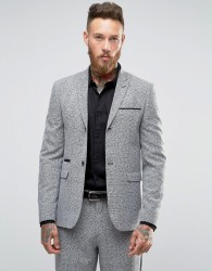 ASOS Skinny Suit Jacket in Prince Of Wales Check - Grey