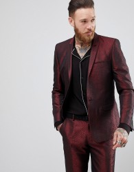 ASOS Skinny Suit Jacket In Red Lava Jacquard - Red