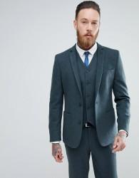 ASOS Skinny Suit Jacket In Teal Green Wool Blend - Green