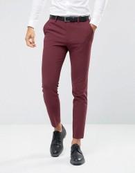 ASOS Skinny Suit Trousers In Burgundy - Red