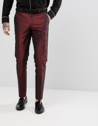 ASOS Skinny Suit Trousers In Red Lava Jacquard - Red