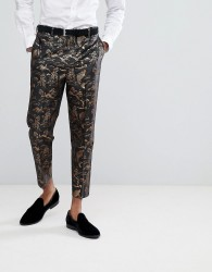 ASOS Skinny Suit Trousers With Gold Fish Jacquard - Black