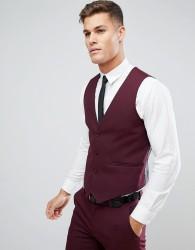 ASOS Skinny Suit Waistcoat In Burgundy - Red