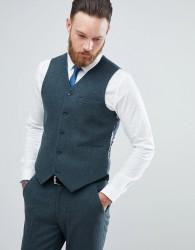 ASOS Skinny Suit Waistcoat In Teal Green Wool Blend - Green