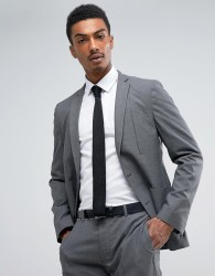 ASOS Skinny Travel Suit Jacket in Charcoal Texture - Grey