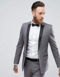 ASOS Skinny Tuxedo Jacket In Gunmetal Grey - Grey