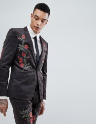ASOS Skinny Velvet Check Suit Jacket With Floral Embroidery - Brown
