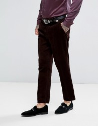 ASOS Slim Cropped Suit Trousers in Chocolate Brown Chunky Cord - Red