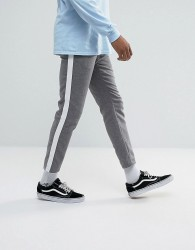 ASOS Slim Cropped Trousers In Grey Nepp With Side Stripe - Grey