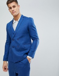 ASOS Slim Double Breasted Suit Jacket In 100% Blue Linen - Blue