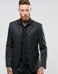 ASOS Slim Four Button Blazer In Tonal Pinstripe - Black