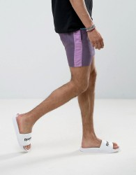 ASOS Slim Runner Shorts with Contrast Side Stripe In Purple - Purple