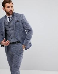 ASOS Slim Suit Jacket In Blue Flecked Wool Blend - Blue