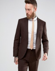 ASOS Slim Suit Jacket In Brown Harris Tweed 100% Wool - Brown