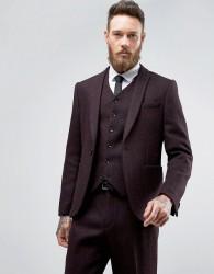 ASOS Slim Suit Jacket in Harris Tweed Herringbone 100% Wool - Red