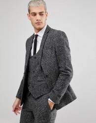 ASOS Slim Suit Jacket In Moons Wool Rich Monochrome Check - Black