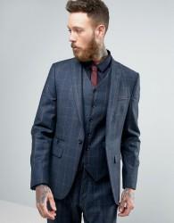 ASOS Slim Suit Jacket In Navy Window Pane Check In 100% Wool - Navy