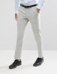 ASOS Slim Suit Trousers in 100% Wool Harris Tweed Herringbone In Light Grey - Grey