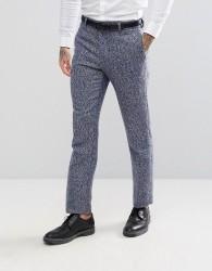 ASOS Slim Suit Trousers In Blue Flecked Wool Blend - Blue