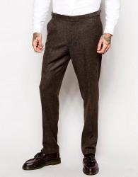 ASOS Slim Trousers In Herringbone - Brown