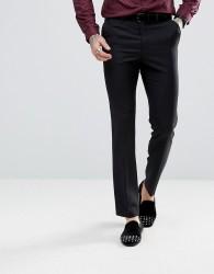 ASOS Slim Tuxedo Suit Trousers in Black 100% Wool - Black