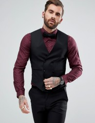 ASOS Slim Tuxedo Waistcoat In Black 100% Wool - Black