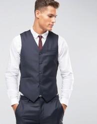 ASOS Slim Waistcoat In Navy 100% Wool - Navy