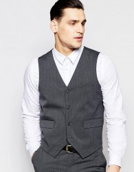 ASOS Slim Waistcoat with Stretch in Charcoal - Grey