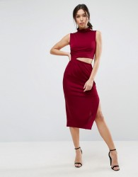 ASOS Slinky High Neck Twist Knot Midi Dress - Red