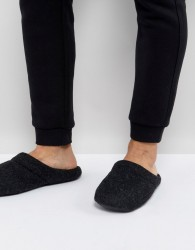 ASOS Slip On Slippers In Black Marl - Black