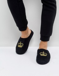 ASOS Slip On Slippers In Black With Crown Embroidery - Black