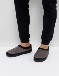ASOS Slip On Slippers In Grey Nylon - Navy