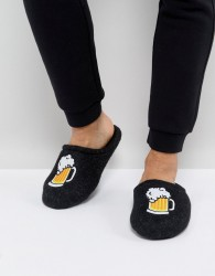 ASOS Slip On Slippers In Grey With Beer Embroidery - Grey