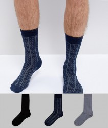 ASOS Socks In Gift Box In Cable Knit With Stripe Cable Detail 3 Pack - Multi