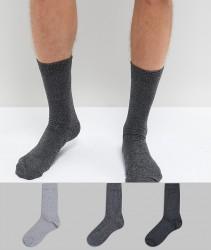 ASOS Socks In Monochrome Twisted Yarns 3 Pack - Multi