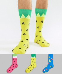 ASOS Socks In Pineapple & Watermelon Design 3 Pack - Multi