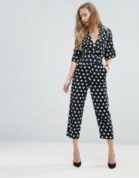 ASOS Soft Tux Jumpsuit in Spot Print - Black