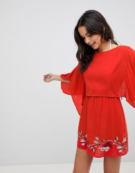 ASOS Split Back Embroidered Beach Dress - Red